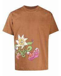 Camiseta con cuello circular estampada en tabaco de Jacquemus