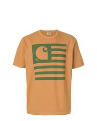 Camiseta con cuello circular estampada en tabaco de Junya Watanabe MAN