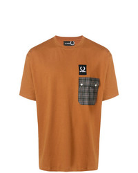 Camiseta con cuello circular estampada en tabaco de Raf Simons X Fred Perry