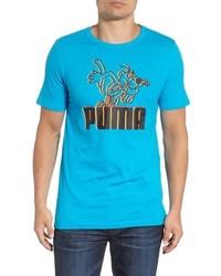 Camiseta con cuello circular estampada en turquesa