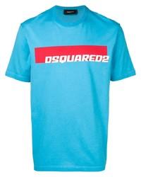 Camiseta con cuello circular estampada en turquesa de DSQUARED2