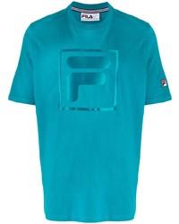 Camiseta con cuello circular estampada en turquesa de Fila