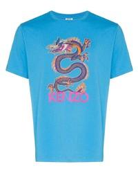 Camiseta con cuello circular estampada en turquesa de Kenzo