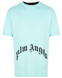 Camiseta con cuello circular estampada en turquesa de Palm Angels
