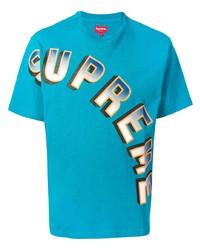 Camiseta con cuello circular estampada en turquesa de Supreme