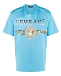 Camiseta con cuello circular estampada en turquesa de Versace