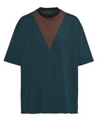 Camiseta con cuello circular estampada en verde azulado de Prada