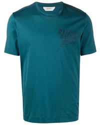 Camiseta con cuello circular estampada en verde azulado de Z Zegna