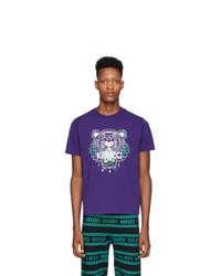 Camiseta con cuello circular estampada en violeta de Kenzo