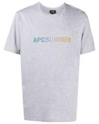 Camiseta con cuello circular estampada gris de A.P.C.