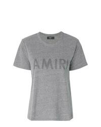 Camiseta con cuello circular estampada gris de Amiri