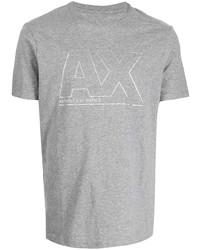 Camiseta con cuello circular estampada gris de Armani Exchange