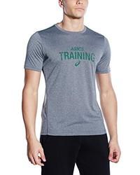 Camiseta con cuello circular estampada gris de Asics