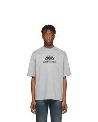 Camiseta con cuello circular estampada gris de Balenciaga