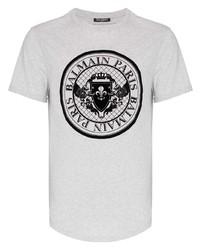 Camiseta con cuello circular estampada gris de Balmain