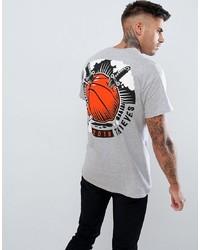 Camiseta con cuello circular estampada gris de Cheats & Thieves