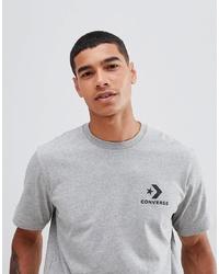 Camiseta con cuello circular estampada gris de Converse