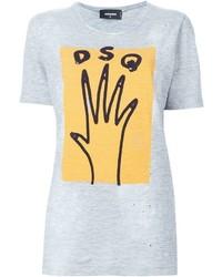 Camiseta con cuello circular estampada gris de Dsquared2