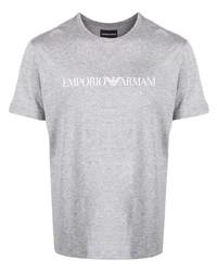 Camiseta con cuello circular estampada gris de Emporio Armani