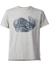 Camiseta con cuello circular estampada gris de Engineered Garments
