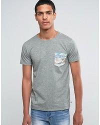 Camiseta con Cuello Circular Estampada Gris de Esprit