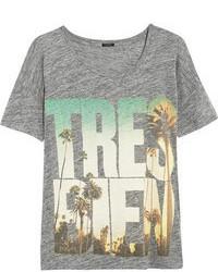 Camiseta con cuello circular estampada gris de J.Crew