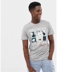 Camiseta con cuello circular estampada gris de Jack & Jones