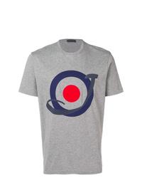 Camiseta con cuello circular estampada gris de Jacob Cohen