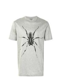 Camiseta con cuello circular estampada gris de Lanvin