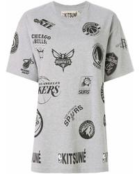 Camiseta con cuello circular estampada gris de MAISON KITSUNE