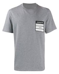 Camiseta con cuello circular estampada gris de Maison Margiela