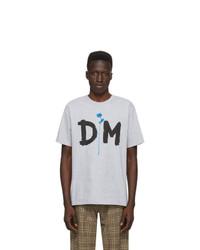 Camiseta con cuello circular estampada gris de Noah NYC
