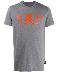Camiseta con cuello circular estampada gris de Philipp Plein