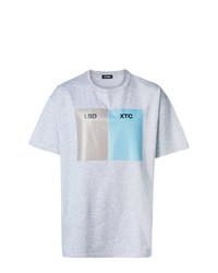 Camiseta con cuello circular estampada gris de Raf Simons