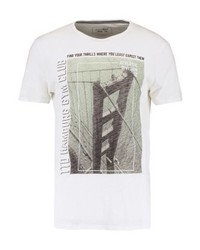 Camiseta con cuello circular estampada gris de Tom Tailor