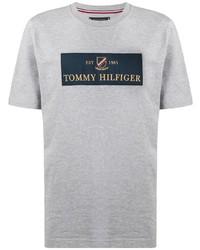 Camiseta con cuello circular estampada gris de Tommy Hilfiger