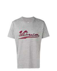 Camiseta con cuello circular estampada gris de VISVIM