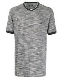 Camiseta con cuello circular estampada gris de Z Zegna