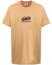 Camiseta con cuello circular estampada marrón claro de Blood Brother