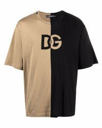 Camiseta con cuello circular estampada marrón claro de Dolce & Gabbana