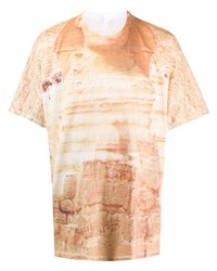 Camiseta con cuello circular estampada marrón claro de Doublet
