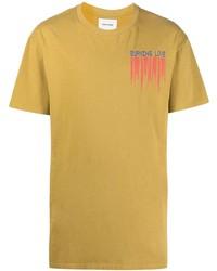 Camiseta con cuello circular estampada marrón claro de Henrik Vibskov