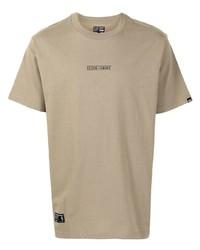 Camiseta con cuello circular estampada marrón claro de Izzue