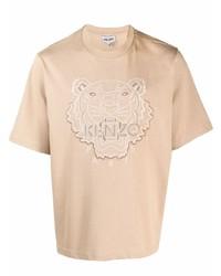 Camiseta con cuello circular estampada marrón claro de Kenzo