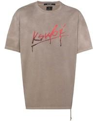 Camiseta con cuello circular estampada marrón claro de Ksubi