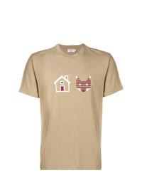 Camiseta con cuello circular estampada marrón claro de MAISON KITSUNÉ