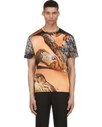 Camiseta con cuello circular estampada marrón claro de Richard Nicoll