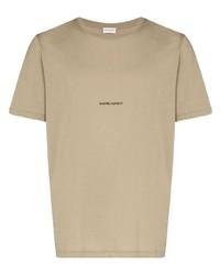 Camiseta con cuello circular estampada marrón claro de Saint Laurent
