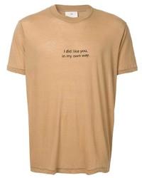 Camiseta con cuello circular estampada marrón claro de Song For The Mute