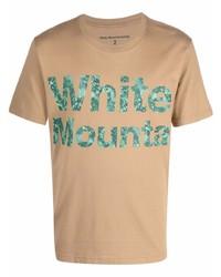 Camiseta con cuello circular estampada marrón claro de White Mountaineering